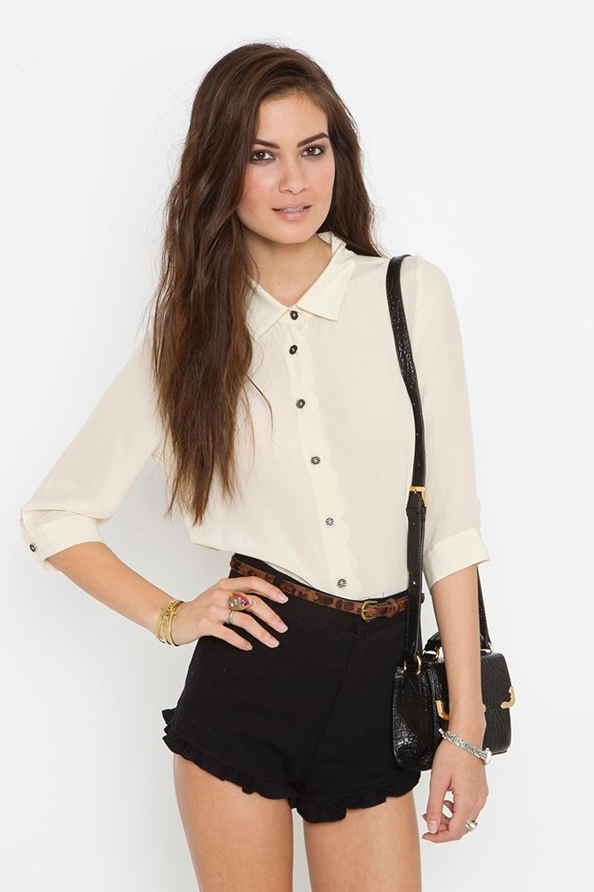 Scalloped Silk Blouse
