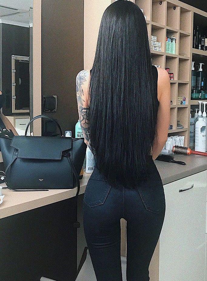 Long Black Straight Hair Jeans Purse Long Hair Styles Long Black Hair Human Hair Wefts