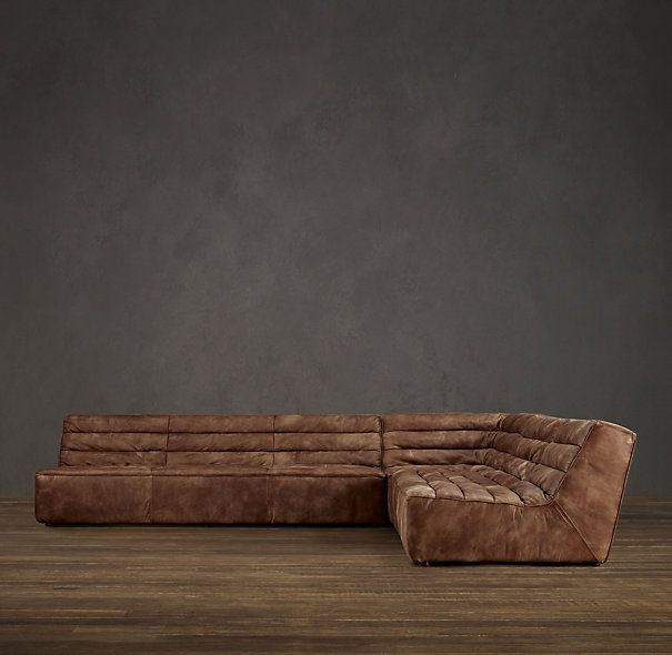 Chelsea Leather Square Corner Sectional Restoration Hardware