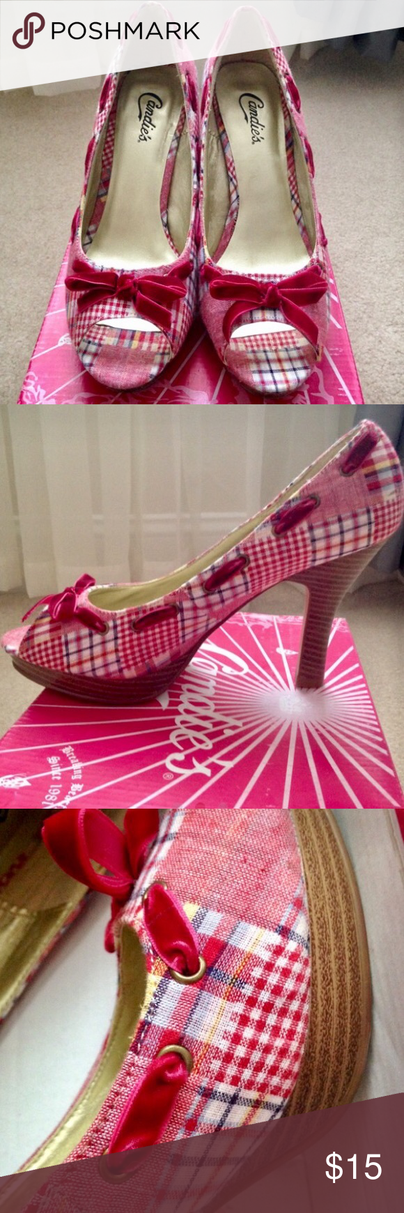 Candie's heels Candie's red plaid peep toe pumps. Used a couple of times and in extremely excellent condition. No scuff marks or flaws. Size 9 1/2. Box included. Candie's Shoes Heels
