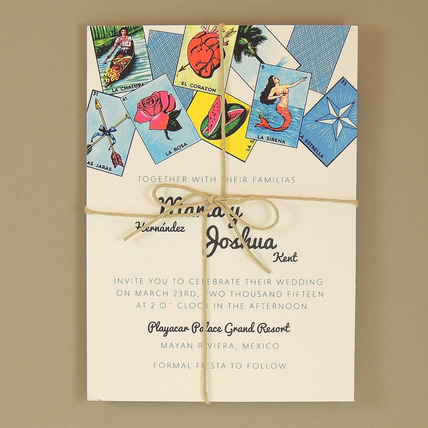 loteria wedding invitations - loteria inspired colorful festive, Wedding invitations