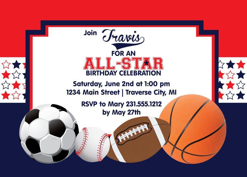 All Star Sports Birthday Invitation | Kids Birthday Party ...