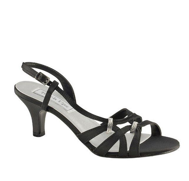 Women S Woven Strappy Black Satin Slingbacks Low Heel