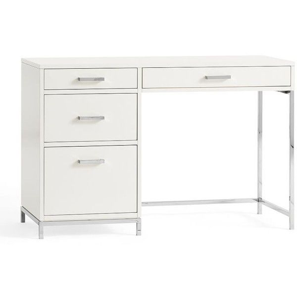 Pottery Barn Ava Small Desk (£585) ❤ liked on Polyvore featuring home, furniture, desks, white home office desk, storage desk, white furniture, heavy duty furniture and pottery barn furniture