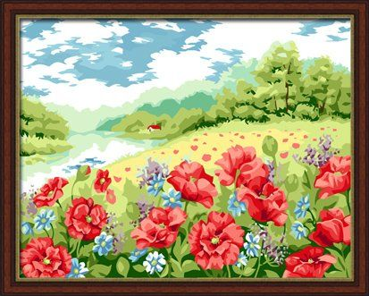 0bd224b92 YEESAM ART New Release Paint by Number Kits for Adults Kids Poppy Flower  Garden 16x20 inch Linen Canvas without Wooden Frame * For more information,  ...
