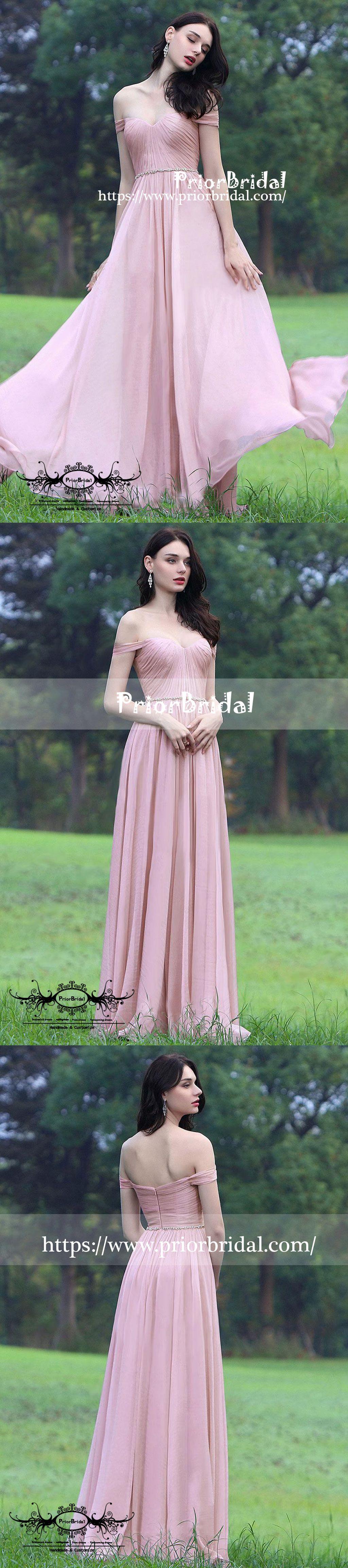 Simple affordable off shoulder pink pleating sweetheart aline
