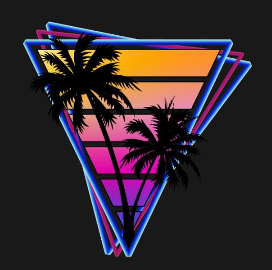 Retrowave style palm tree sunset Fan art. outrun Retro art