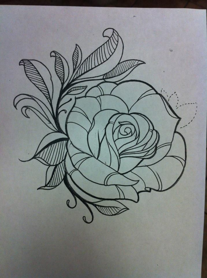 Design Rose Tattoo Drawing Outline