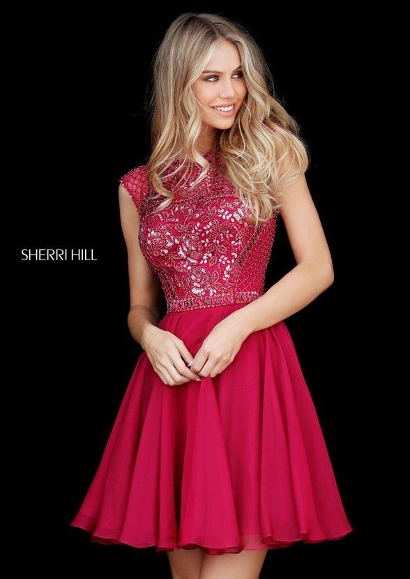 A Line Beaded Ruby Sherri Hill 51293 Open Back Short Pageant Dress
