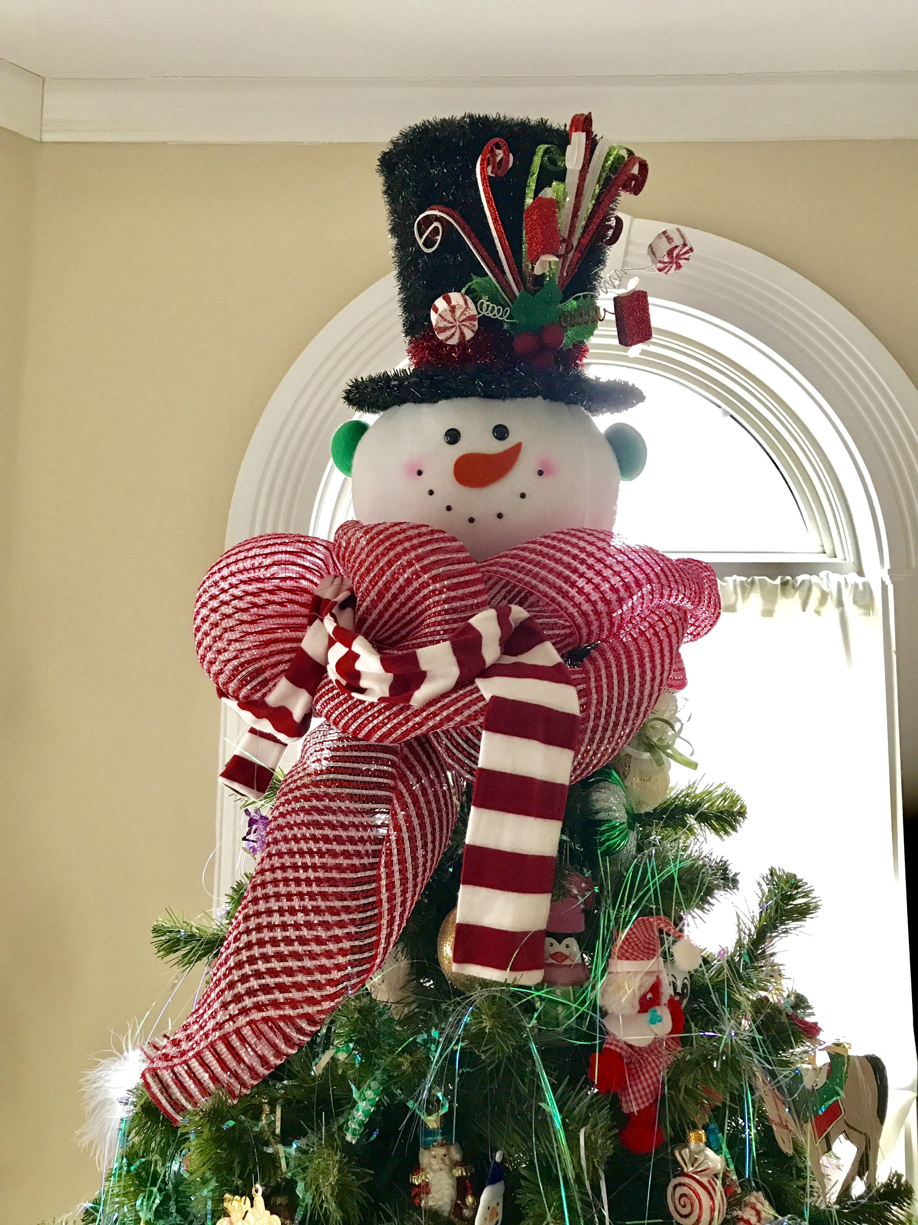 d72c66832501b9 Snowman head with a top hat -Christmas tree topper ...