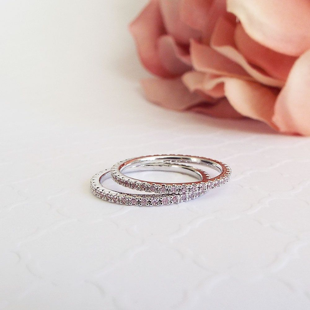 Pink Sapphire Pave White Gold Ring 1mm Full Eternity Band Cubic Zirconia CZ Micro Pave Thin