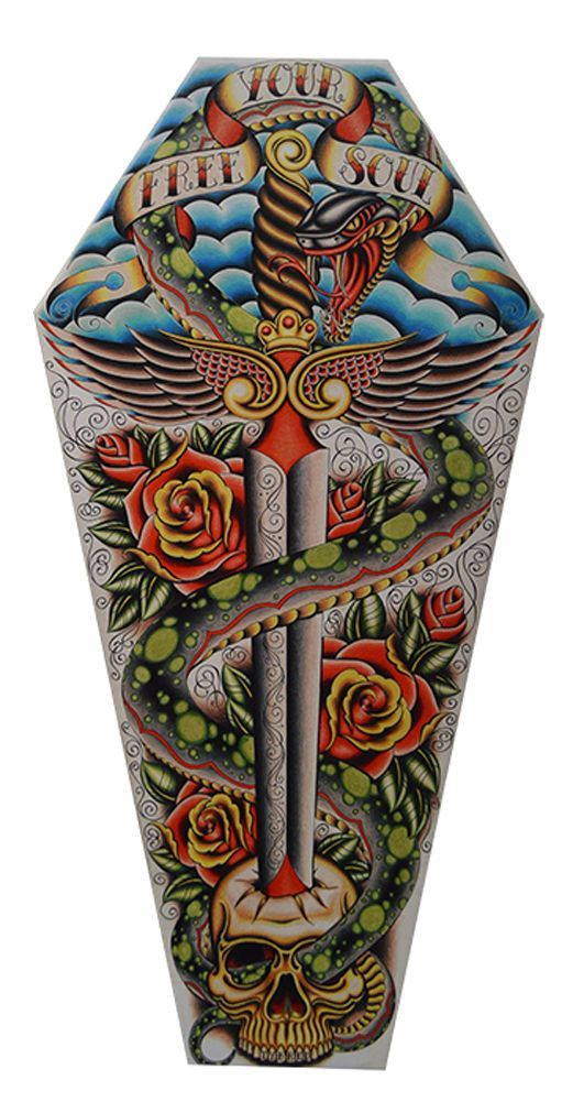 coffin shaped stretch canvas artwork features free your soul
