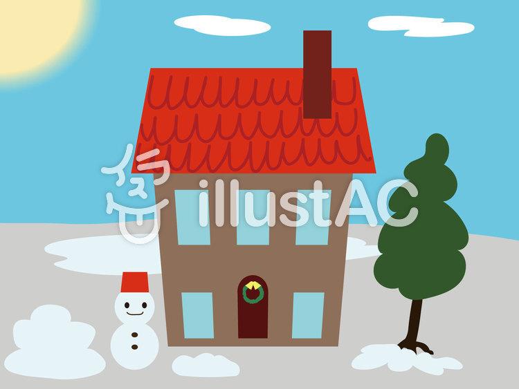 冬の昼 家と庭イラスト イラスト 冬イラスト 紅葉 桜