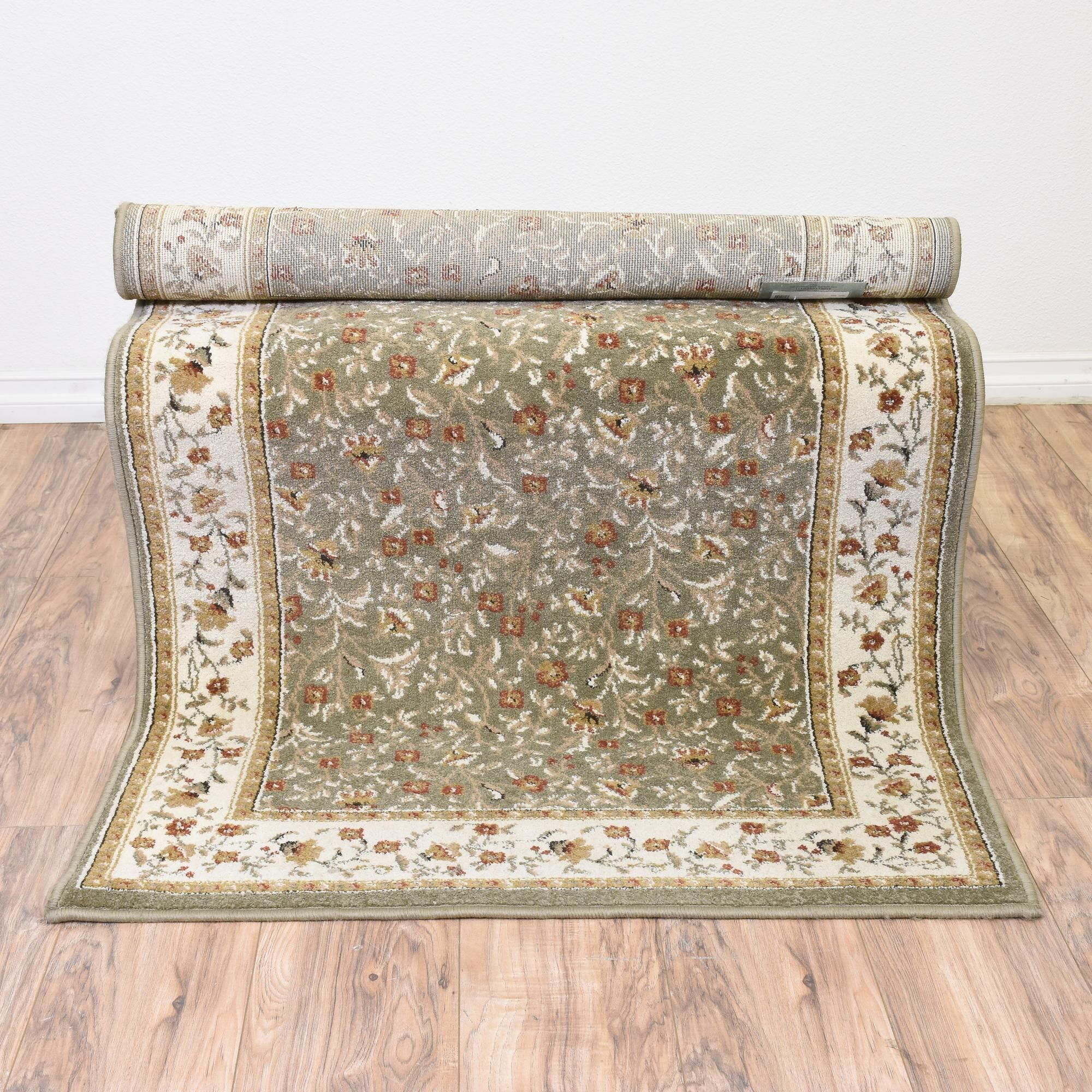 This Area Rug Is Woven In A Durable Sage Green Cream Beige And Red This Large Rug Has Patterned Trim And Floral Print Accen Sage Green Floral Area Rugs Rugs