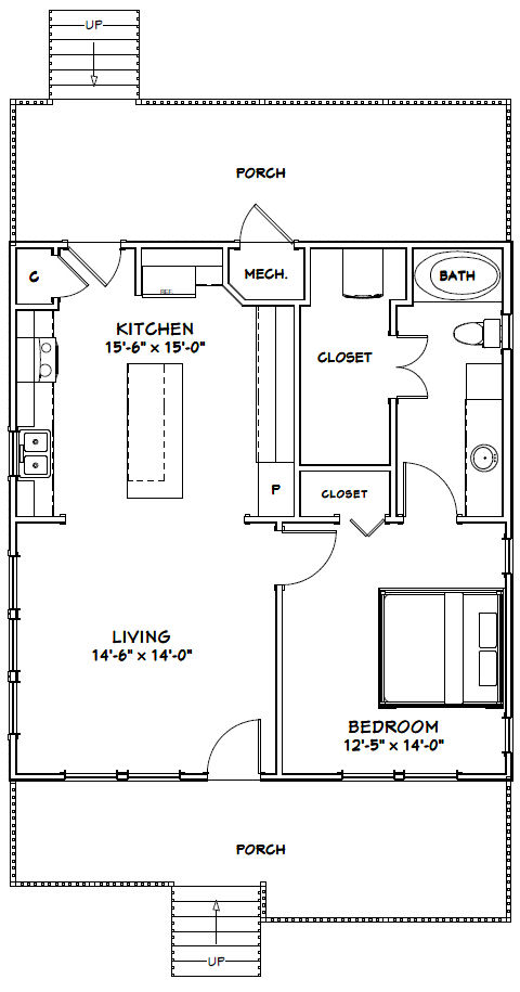 28x30 House 28x30h1b 840 Sq Ft Excellent Floor Plans Tiny House Floor Plans House Plans Floor Plans
