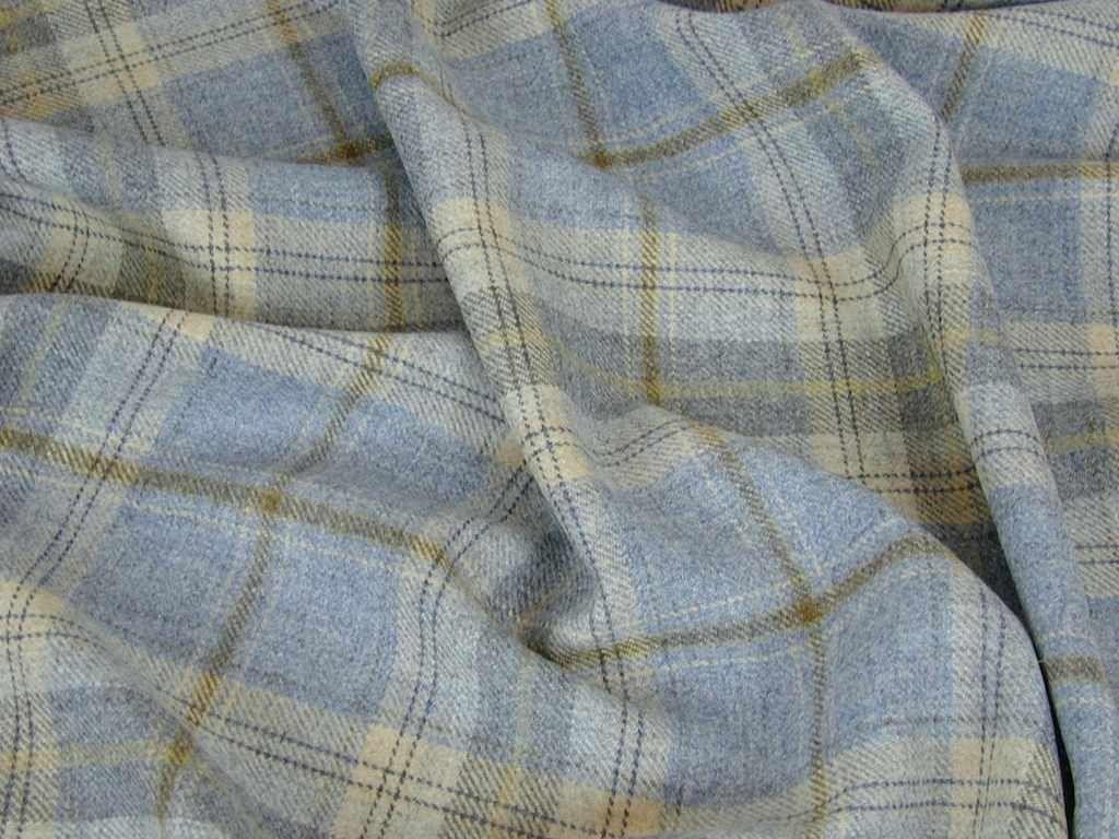 100 Wool Tartan Plaid Cornflower Blue Curtain