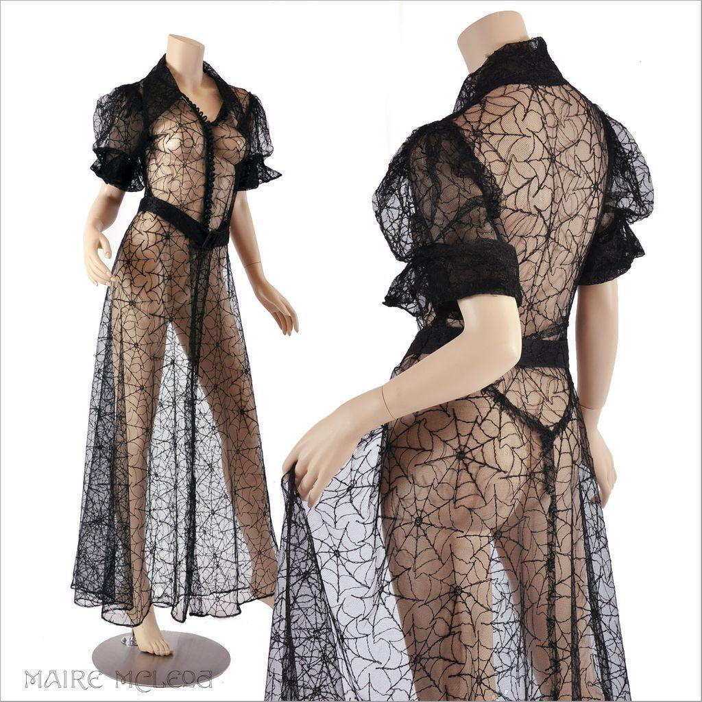 0dabf761bc77d 1930's Dress // Vintage 30's Spider Web Net Lace Dress Peignoir ...