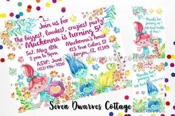 Personalized Trolls Birthday Invitation Cute Fairy Invite Print At Home Custom
