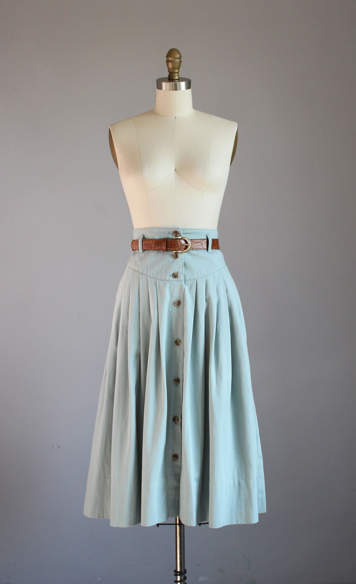 1980s Calvin Klein Sport pale green cotton midi skirt