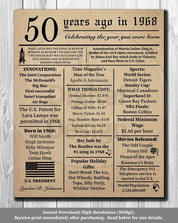 50th birthday newspaper poster 1968 facts 16x20 8x10 - Geburtstagsideen 50 ...