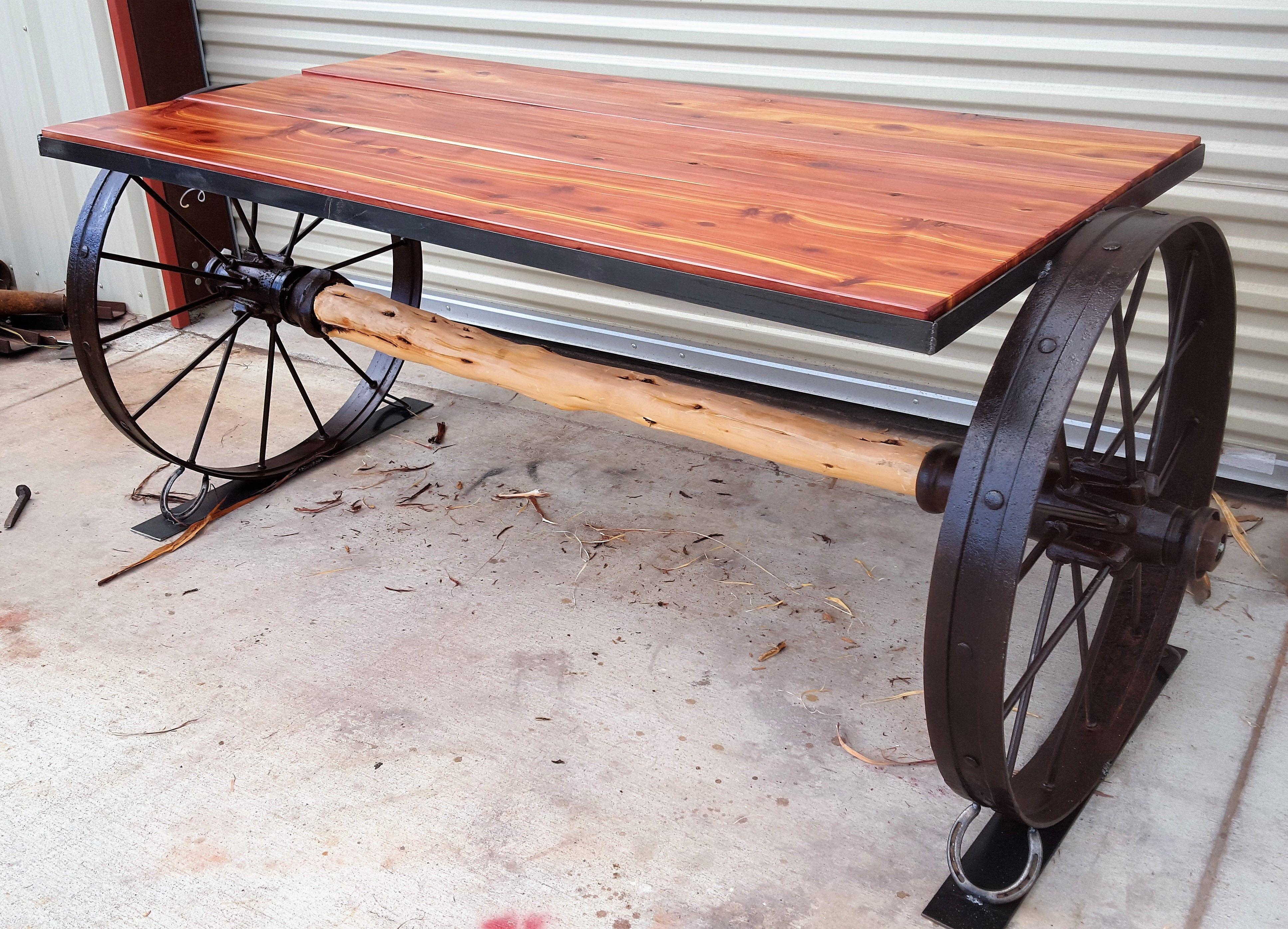 Cedar And Wagon Wheel Table Board1 In 2019