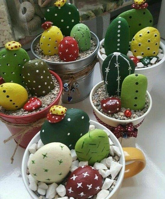 Trendige Kaktus Deko - 60 Bastelideen für extra sommerliche Stimmung #steinbilderselbermachen