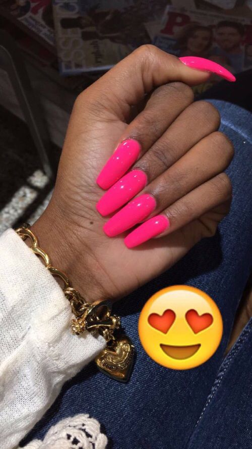 Beautiful Pink long nails | 2. Double Team + Dynamicpunch Amazing ...