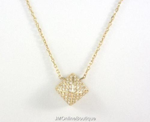 Michael Kors Mkj5247710 Women 039 S Gold Tone Pyramid Pendant Chain Necklace New Michael Kors Necklace Gold Tone Necklace Pave Gold