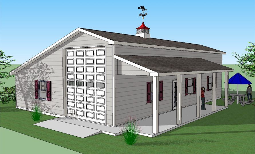 Sonata rv port home with garage and porch diy house for Rv port designs
