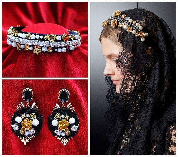 Baroque Headband-Bridal Headpiece-Earrings by Elviejewelrydreams