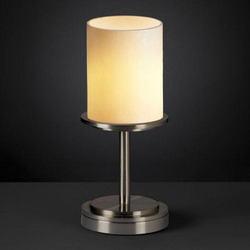 Justice Design Group CNDL-8798 - Dakota 1 Light Table Lamp (Short) - Cylinder with Flat Rim Shade - Brushed Nickel with Cream Shade - CNDL-8798-10-CREM-NCKL