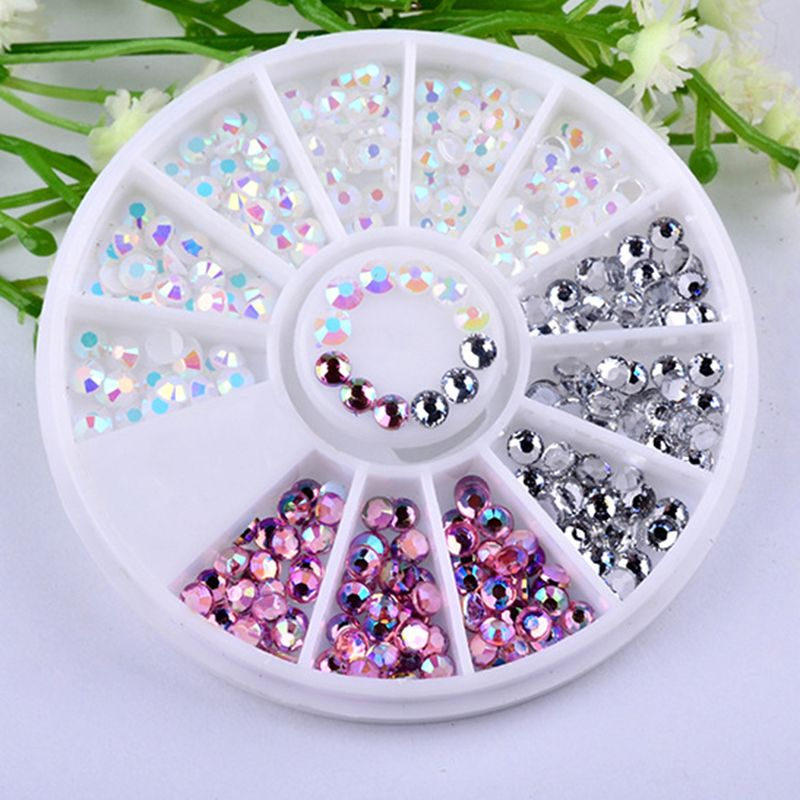 Colorful 3D Round AB Rhinestone Crystal Glitter Bead Pearl Wheel Nail Art  Tips Jewelry Decoration DIY 13c2c6dce89d