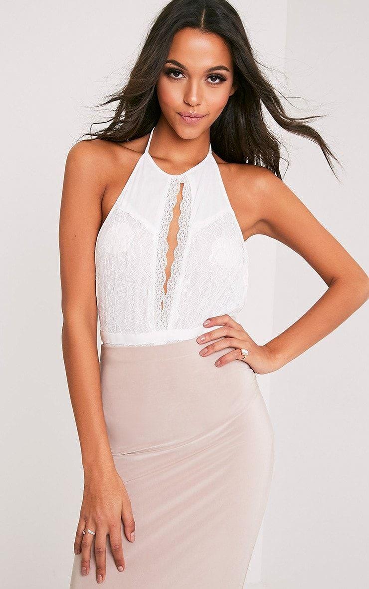 Lace bodysuit shirt  Alexandria White Halterneck Lace Thong Bodysuit  Tops