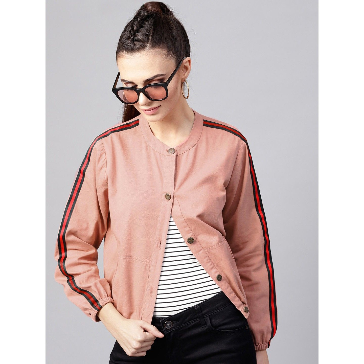 Sassafras Women Dusty Pink Bomber Jacket Lowest Price In India 2020 Full Specification Features Jackets For Women Bomber Jacket Jackets