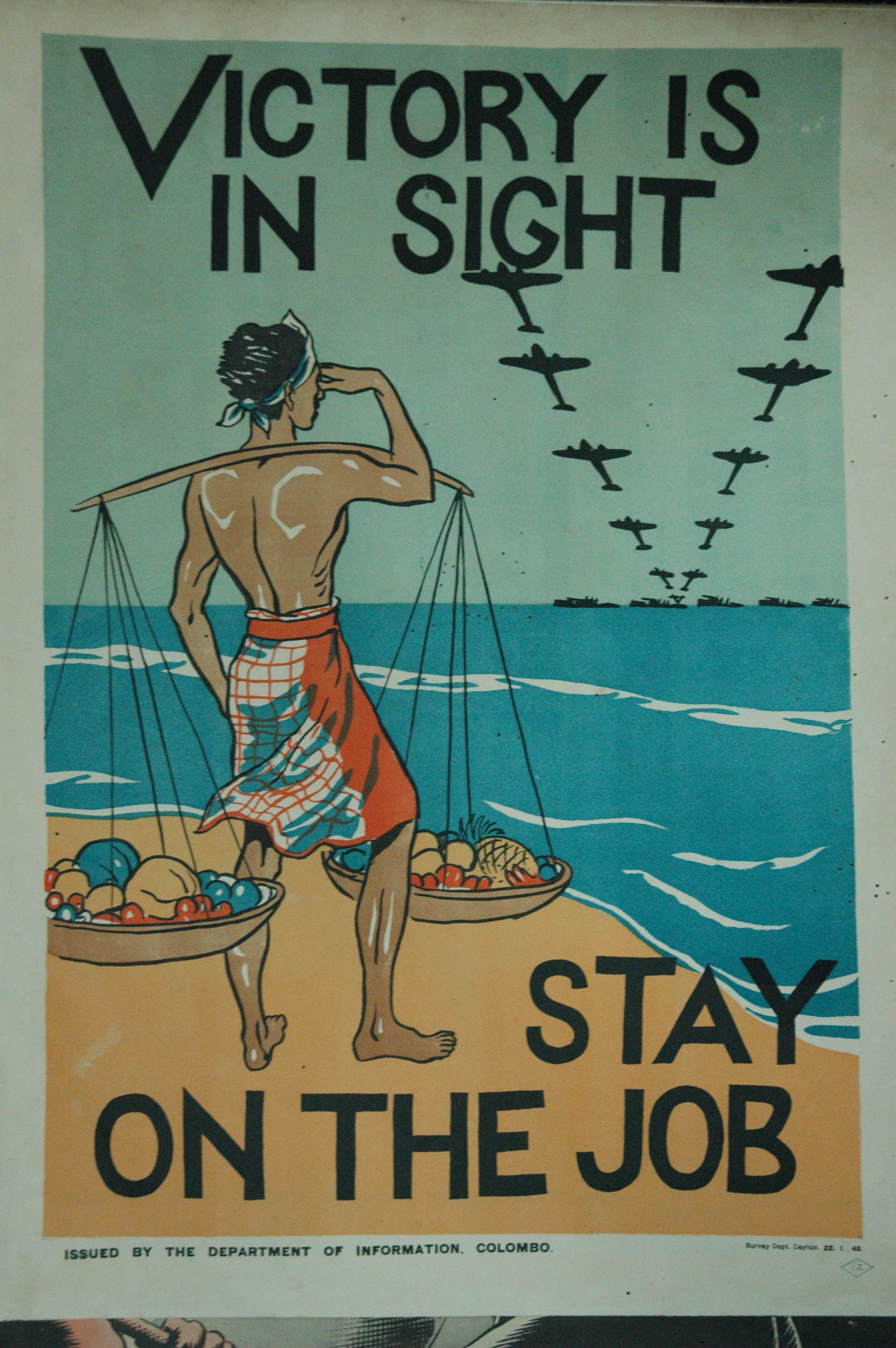A Poster Aimed At Sustaining Morale On The Sri Lankan Home Front During The Second World War Copyright Sri Lank Giant Poster Vintage Posters Elephant Applique