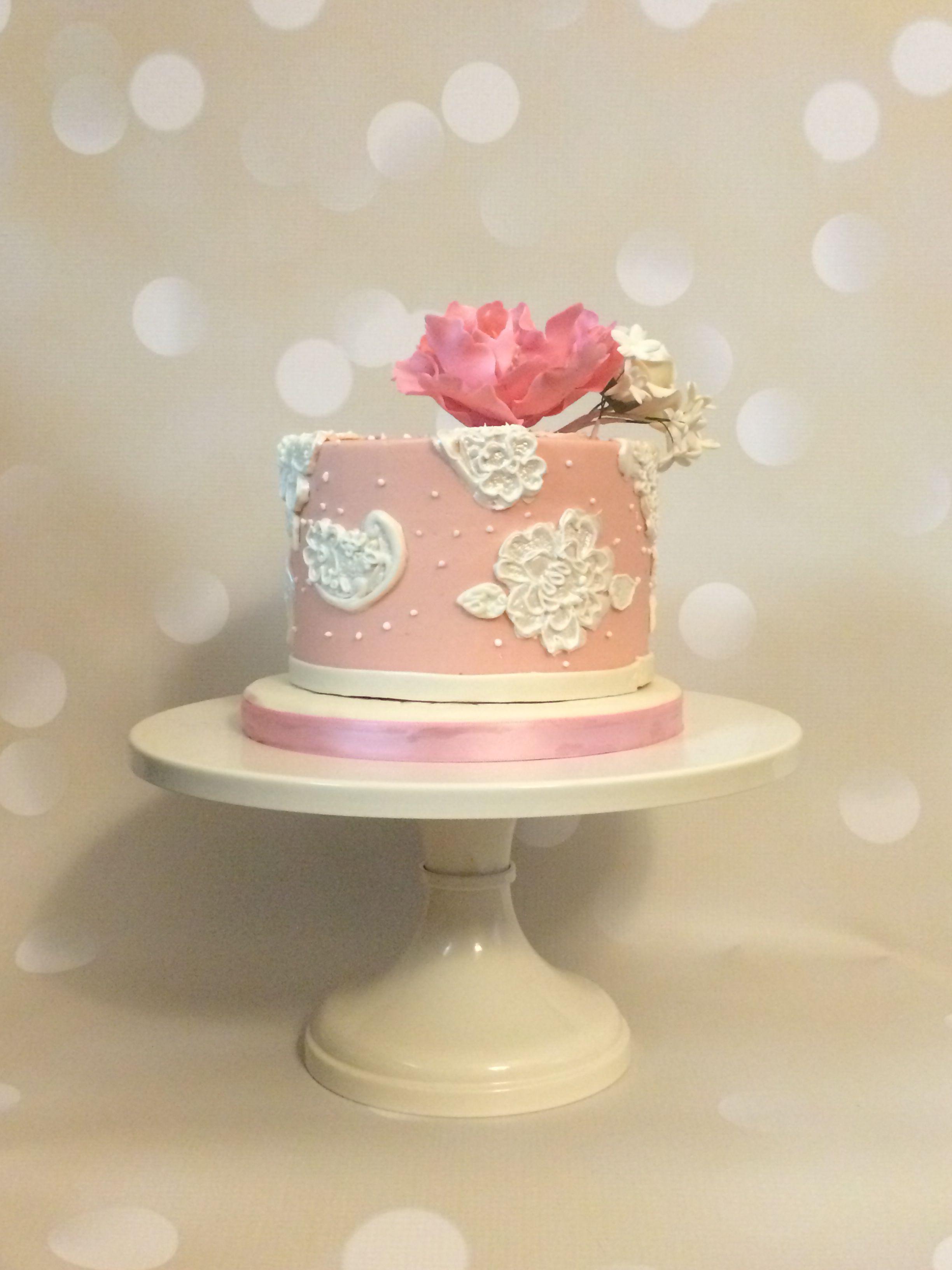 Vintage lace appliqué single tier wedding cake pink pinterest