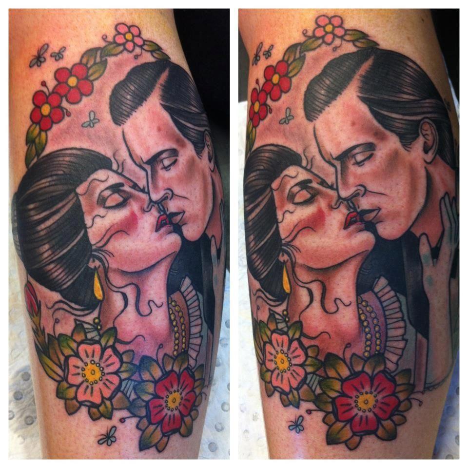Romantic Couple Portrait Tattoo Drew Shallis Tattoos Portrait Portrait Tattoo
