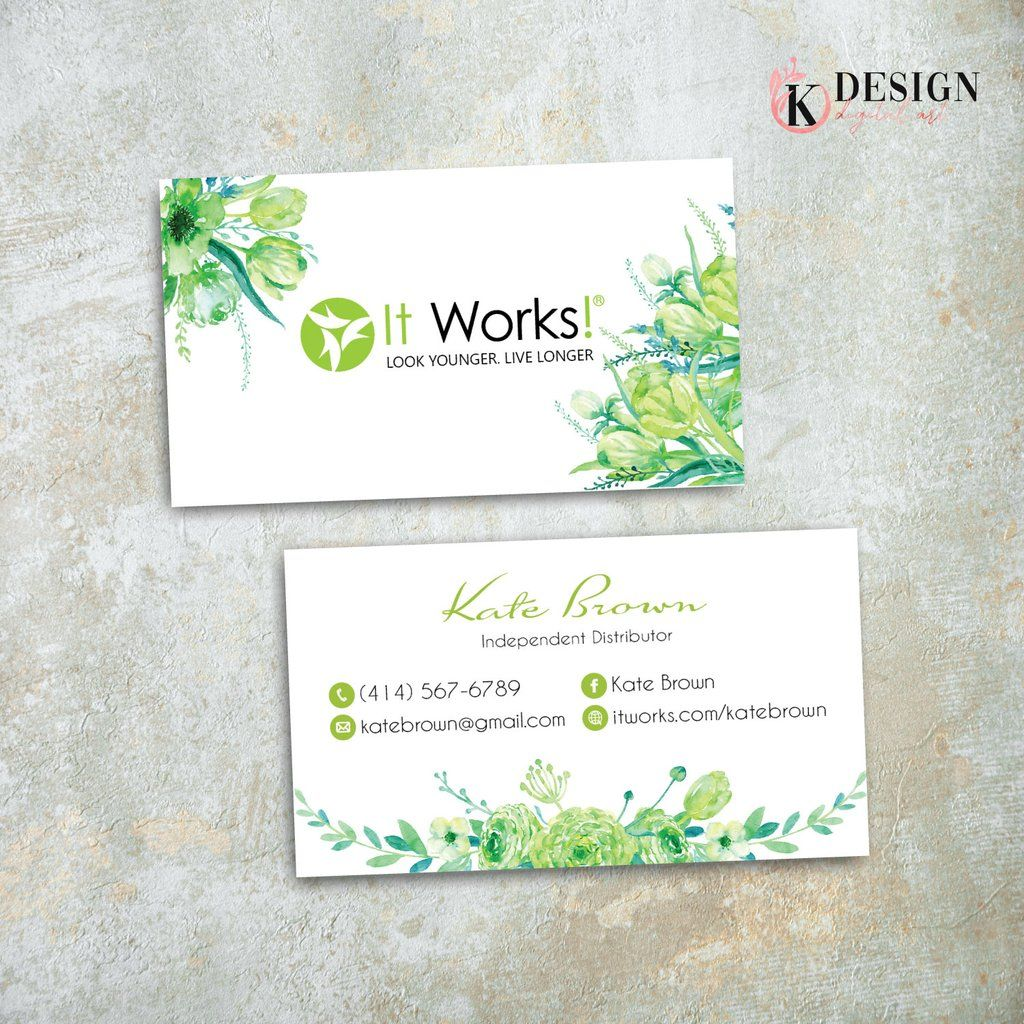 Greenery It Works Business Cards It Works Global Cards It Works Iw11 In 2020 It Works Global Business Card Size It Works It works business card template