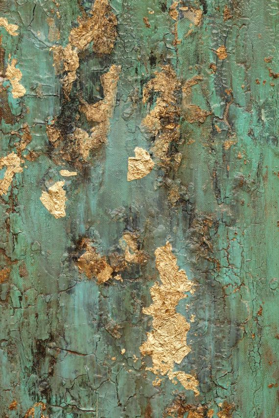 Sold Textured Gold Leaf Turquoise Painting Original