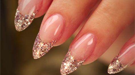almondshaped glitter french acrylic nails  french