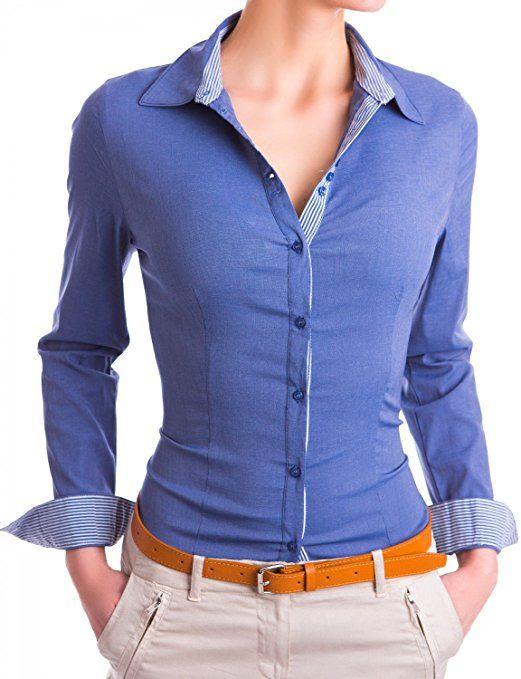 Damen elegante Hemden tailliert Figurbetonte langarm Blusen