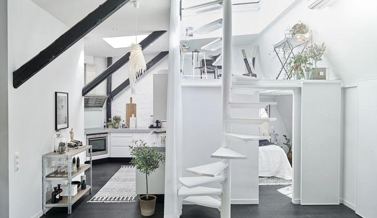 Stoere zolderverdieping met vliering interieur compact wonen