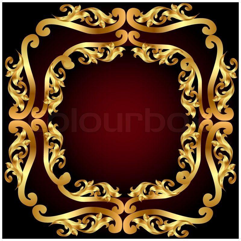 Goldener Rahmen mit goldenen pflanzliche Ornament Stock Vektor on ...