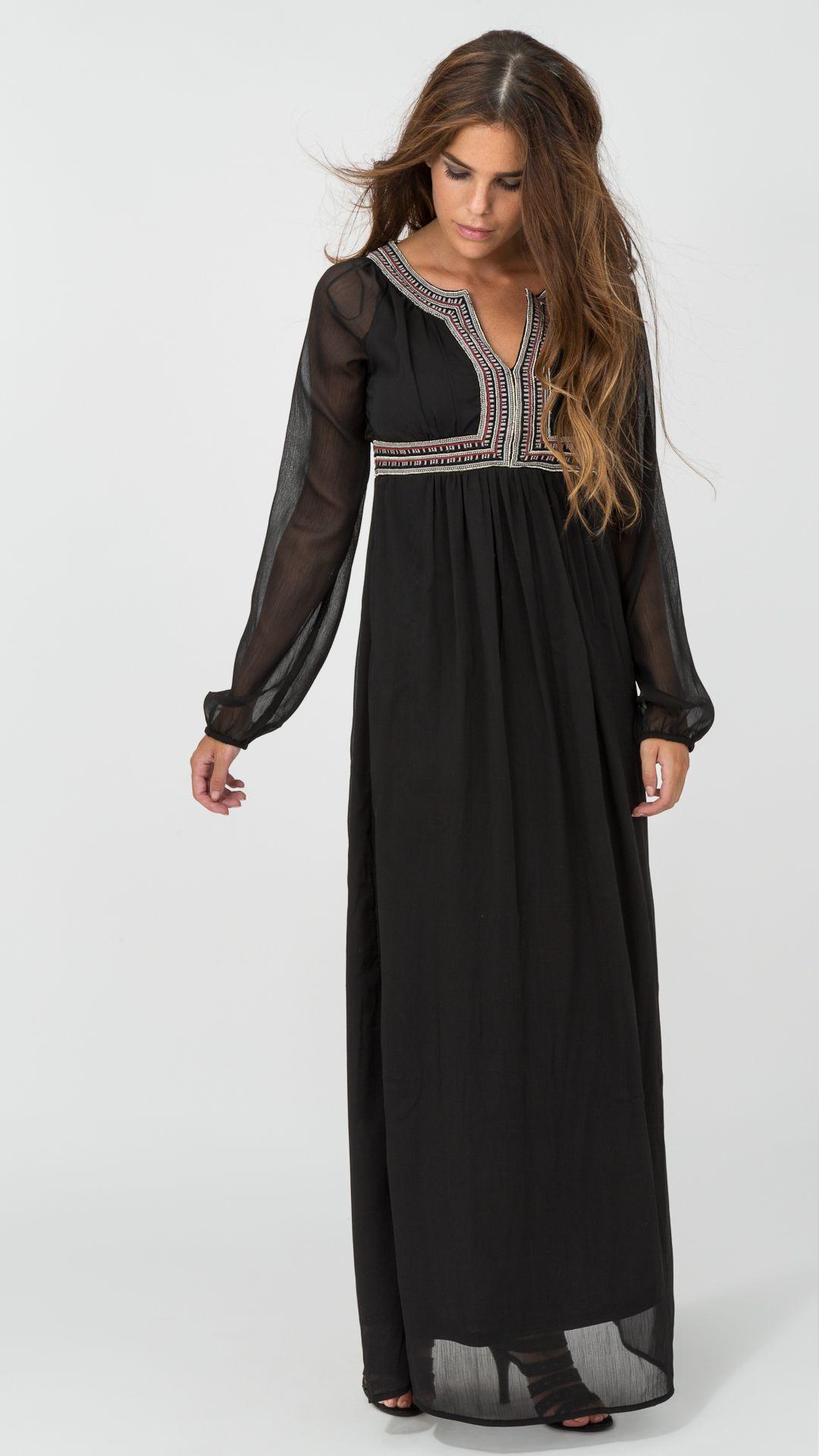 b21908e3c96b Vestido largo negro de gasa y corte imperio...espectacular | Black ...