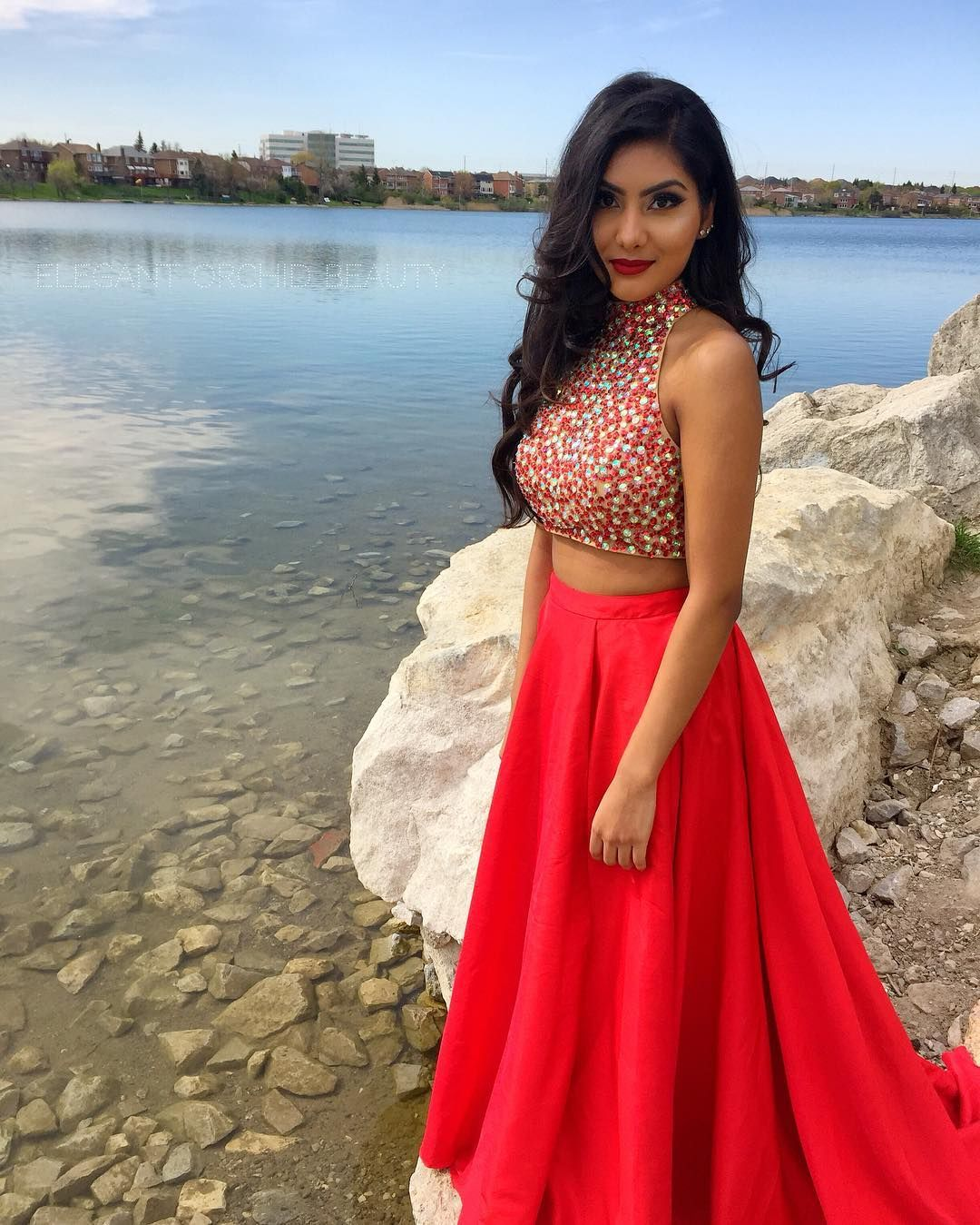 High collar pieces prom dress with side slit on luulla prom