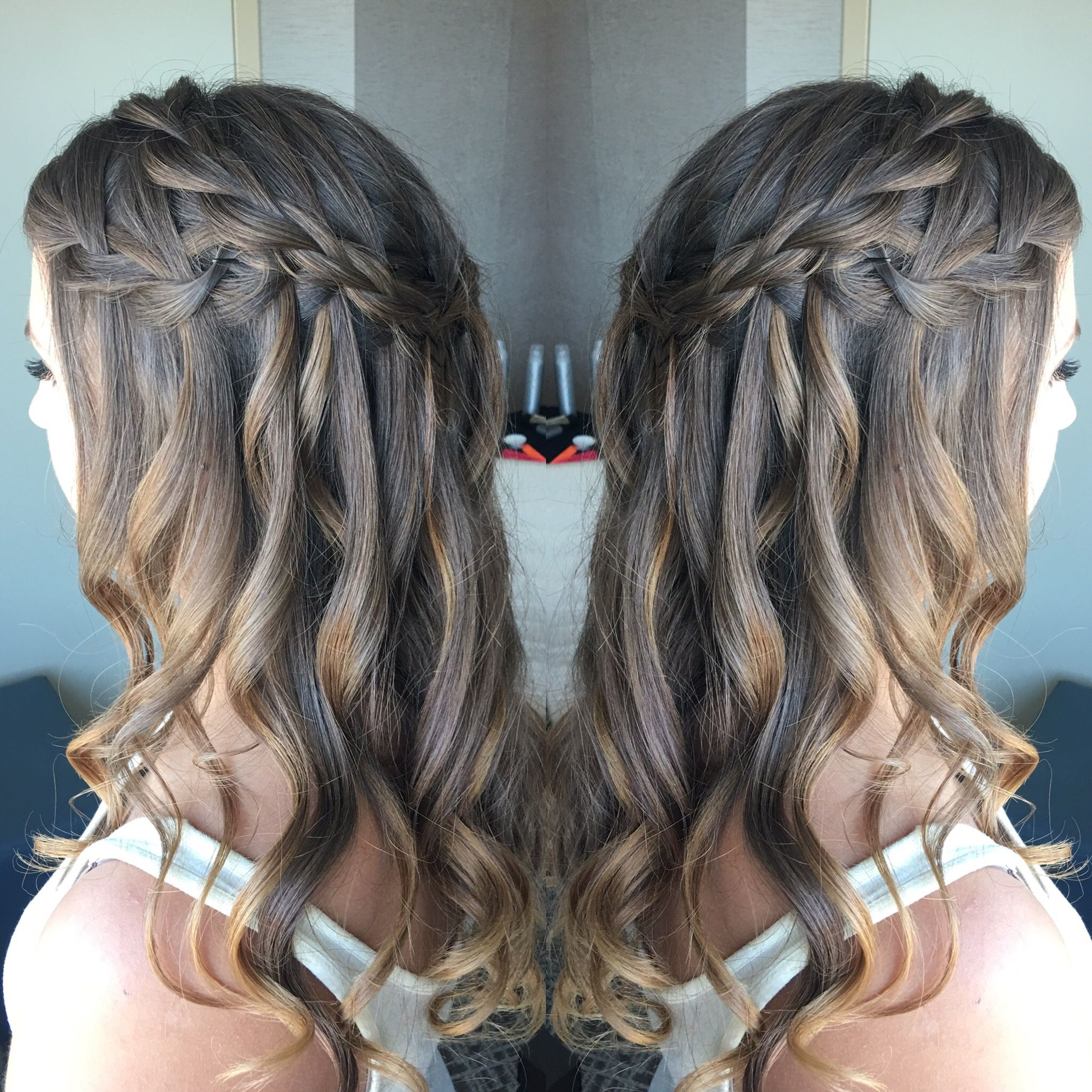 braided waterfall wedding hairstyle | half up half down hairstyles