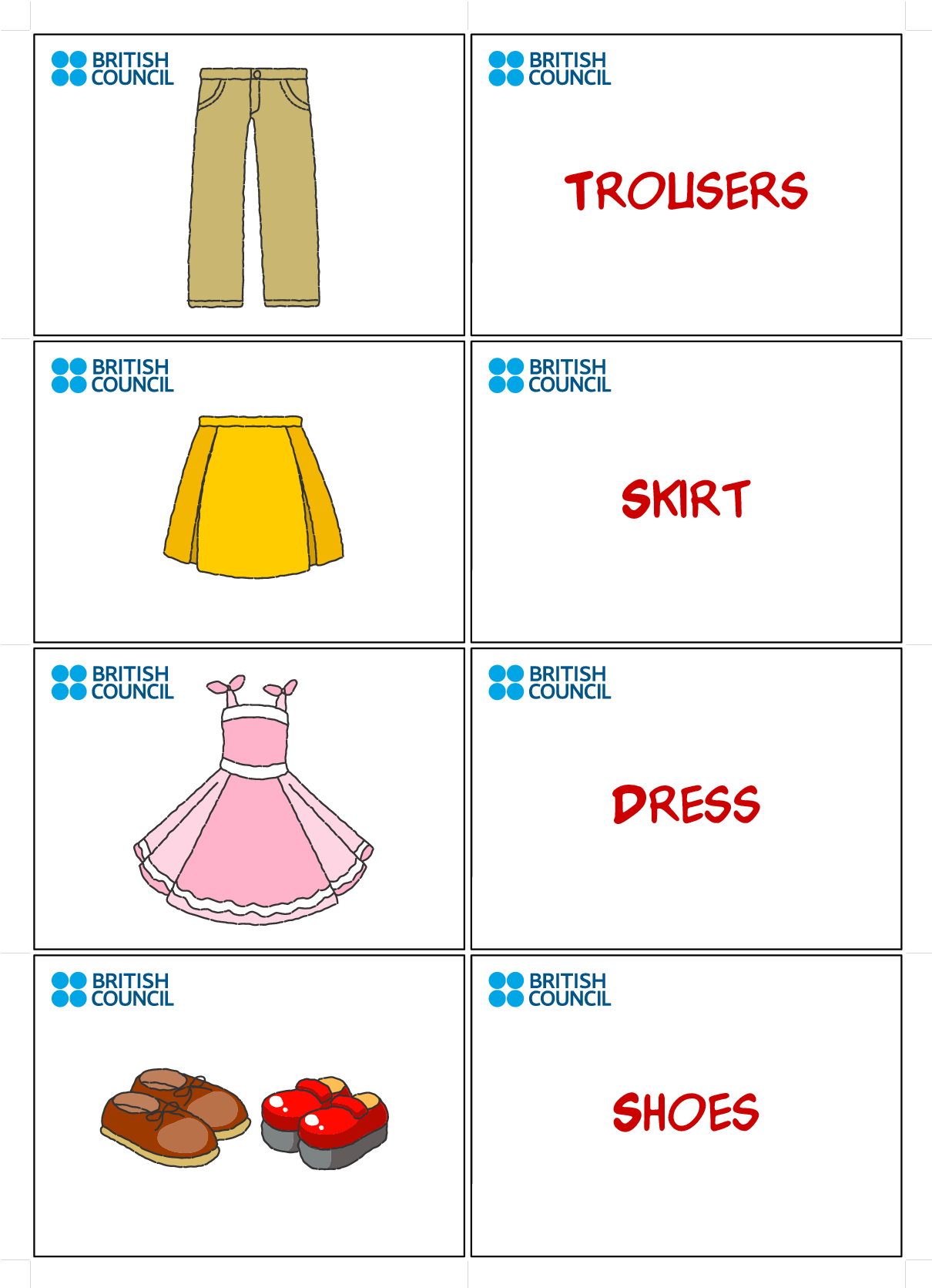 Clothes Flash Cards for Kids Printables | Flash Cards ...