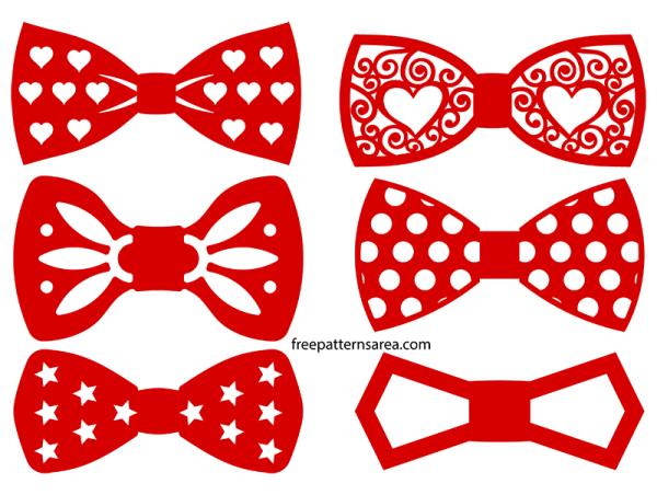 Bow Tie Silhouette Vectors And Outline Templates Freepatternsarea Bow Tie Template Diy Bow Tie Valentines Bow