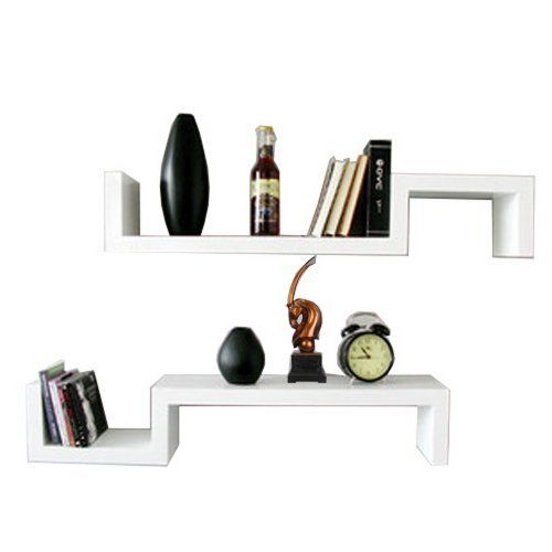 Set of 2 S Shaped Floating Wall Shelves Units DVD CD BOOK Storage ...