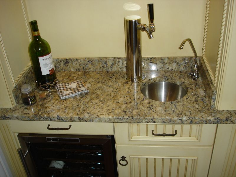 Concealed Small Built In Wet Bar Custom Sink Beer Tap